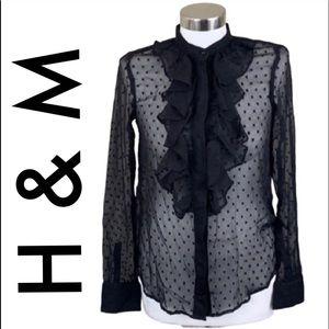 H&M BLACK SHEER POLKA DOT RUFFLE BLOUSE SIZE 4